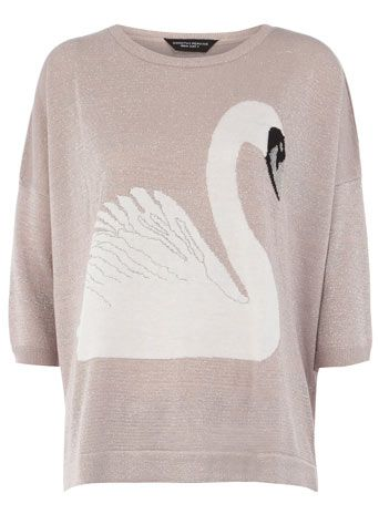 Slouch Swan Top: Swan Lakes, Clothing, Lurex Swan, Dorothy Perkins, Swan Sweaters, Blushes Swan, Pink Lurex, Swan Jumpers, Animal Sweaters