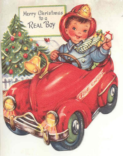 Christmas Toys Cards : Mid th century quot merry christmas to a real boy card with