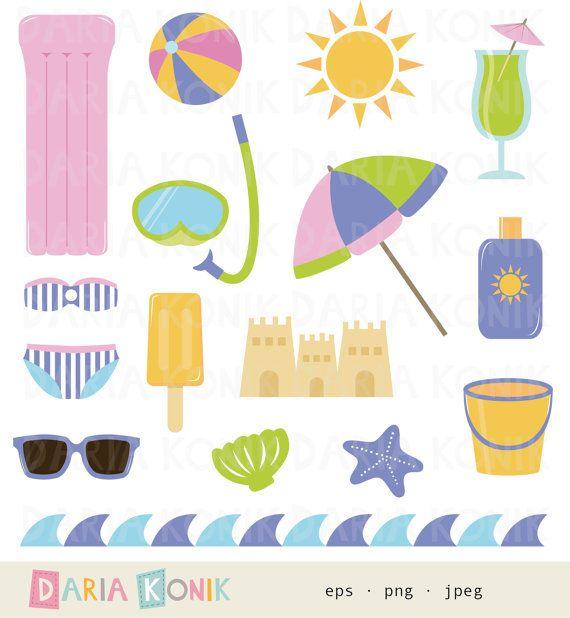 Beach Clip Art Set-summer clipart sand castle sun by dariakonik