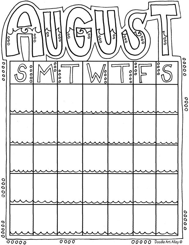 Blank Calendar Coloring Pages : Printable monthly calendar coloring pages best