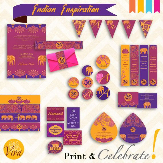 Printable Indian Inspiration Birthday Party/Engagement by Viva Print Celebrate