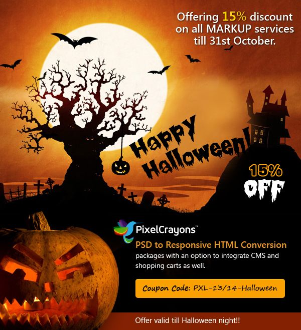 PixelCrayons #Halloween #offer- 15% #discount on PSD to #Responsive #HTML #conversion packages..
