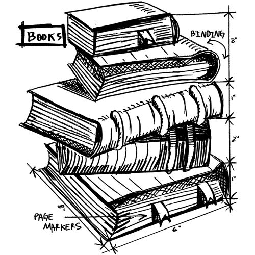 Tim Holtz Rubber Stamp 2015 BOOKS SKETCH Stampers Anonymous V12625