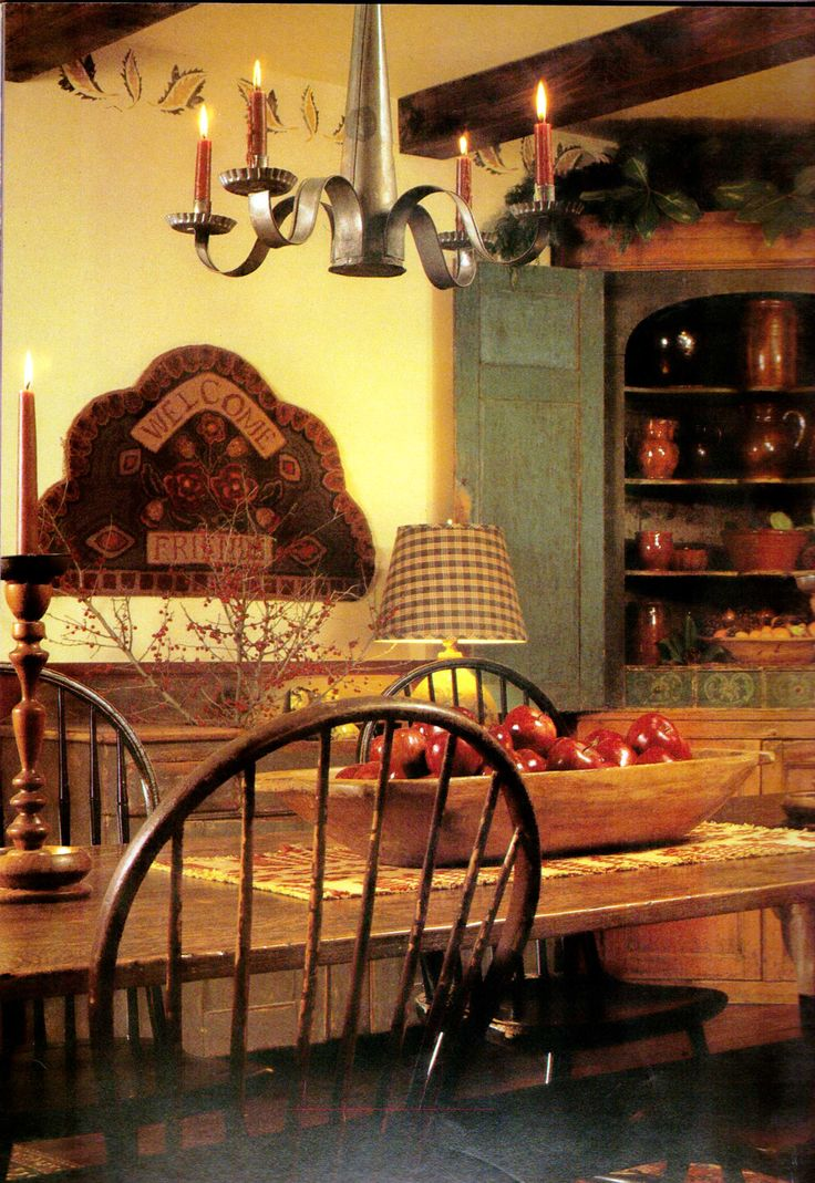 prim country decor, dining room