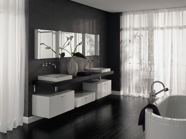 116 best badezimmer images on Pinterest Bathroom ideas, Live and - badezimmer schwarz weiß