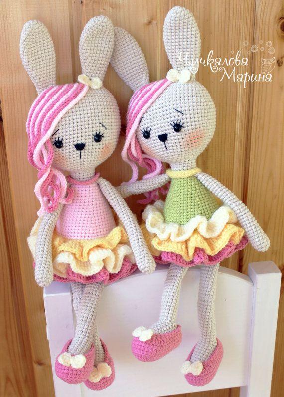 Crochet toy pattern Bunny in lush skirt PDF by Kumutushkatoys $6.40