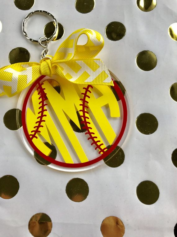 Softball or Baseball Monogram Keychain. So Cute! They would make a great keychain or bag tag. Great team gift :)