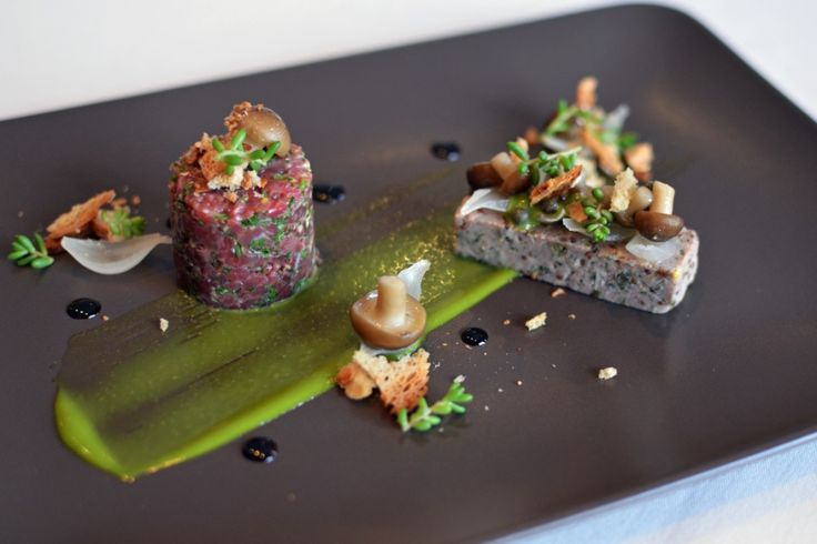 Fine Dining Food Art | Dexter beef tartare and corned beef, wasabi cream, pickled shimeji ...