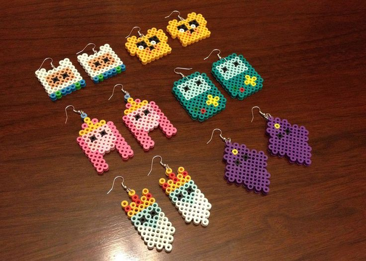 Adventure Time perler bead earrings at EB Perler. there are lots of awesome (affordable) perler bead pieces in this shop!