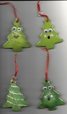 Salt dough ornaments. 2 cups of flour 1 cup of salt 3/4 cup of water Bake in 200 degree oven for 20-25 min
