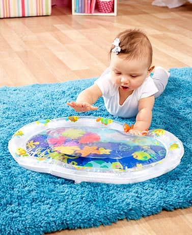 Lakeside Catalog: $8.98  This baby's playmat is a safe and fun way to introduce your newest addition to water. Simply inflate the outer chamber, fill the bottom with tap water and place it in front of your baby. Great for tummy time, it has 6 water pals for baby to push around
