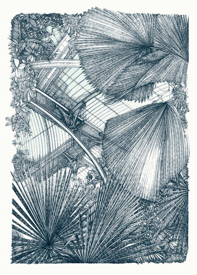 Kew Palm Greenhouse by Lucille Clerc. Screenprint in a limited edition.