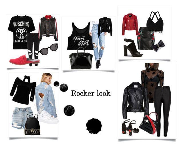 tendencias ss18 rocker by mica-brizuela on Polyvore featuring moda, Moschino, Rokoko, Miss Selfridge, A.L.C., Acne Studios, Gucci, Bally, River Island and AGOLDE