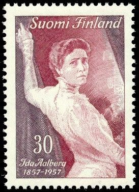 Finland, 1957. Ida Aalberg stamp. Ida Aalberg (1857-1915) was the most notable and internationally known Finnish actress of her time. Stamp was issued in 1957, in honor of the centennial of Ida Aalberg's birth.