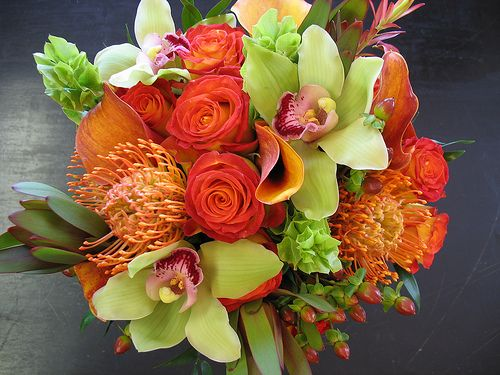 Pieza central bouquets  de flores tropicales