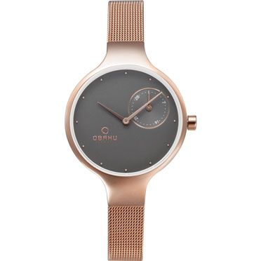 OBAKU Eng - blush // rose gold and grey ladies multifunction watch