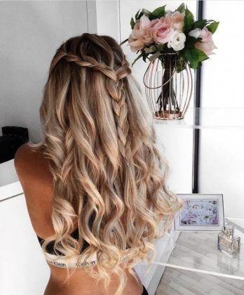 braid + long curls / #hairstyles #makeup #beauty #LongHairstyles