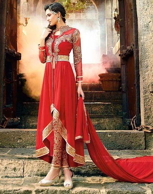 USD 72.82 Red Georgette Designer Anarkali Suit 54379