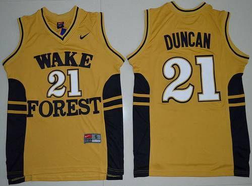 Men's West Forsyth University #21 Tim Duncan Gold College Basketball Swingman Jersey
