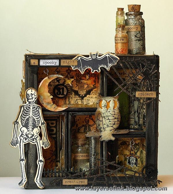 simon monday challenge blog halloween shadow boxshadowbox ideasaltered - Halloween Diorama Ideas