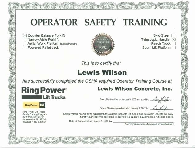 Forklift Training Certificate Template New Scissor Lift Certification Card Template Training Certificate Certificate Templates Forklift Training