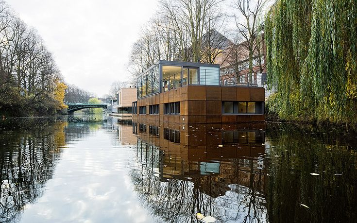 """Houseboat on the Eilbek Canal, Hamburg"" by German architects firm Sprenger von"
