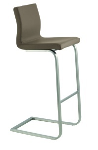 The Queen Cantilever stool in Premium Quality Grey Leather, with Chrome Plated Welded Steel Frame.  The seat height is 65 cm, which is suitable for use at a standard kitchen counter or breakfast bar that has an overall height of about 91 cm.   There is a matching Queen 4 Leg Chair available. This can be supplied in the same 6 colours of real leather. This is ideal for an open plan kitchen/ dining area, where stools are required at the breakfast bar and chairs at the dining table.