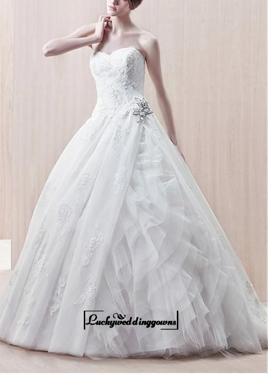 Attractive Organza & Satin & Tulle Ball Gown Strapless Sweetheart With Lace Appliques Wedding Dress