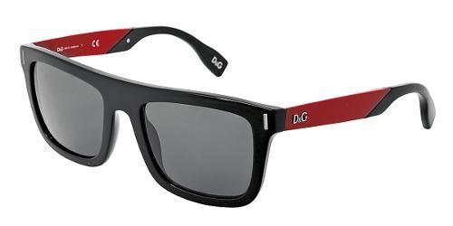 Dolce & Gabbana  Eyewear: modelo DD 3083 - Colección de gafas de sol de hombre. Montura frontal cuadrada negra - Varillas rojas y lentes grises.