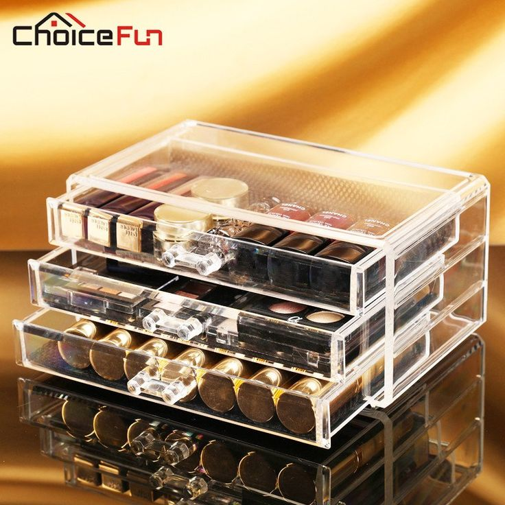 Acrylic Make Up Organizer 3 Drawers Storage Box Clear