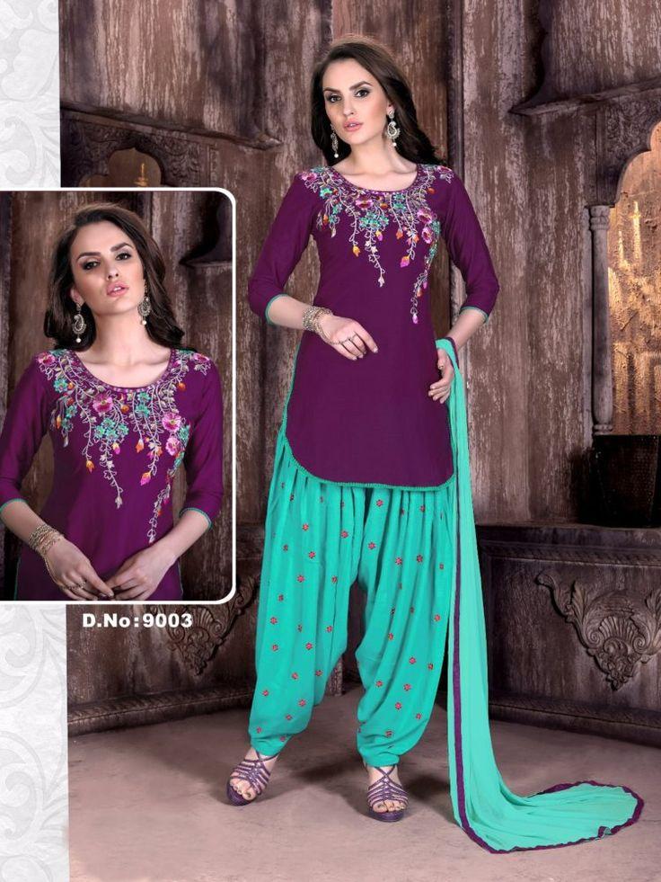 Click On Bazaar Firozi and Purple Color Cambric Cotton Patiala Salwar Suit - ClickOnBazar  #onlinepatiala #designerpatialasalwar #patialasalwarsuits #designerpatialasalwar #clickonbazaarpatialasuits