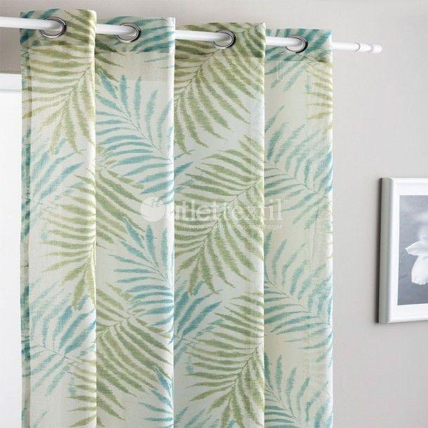 Cortina Confeccionada ONIVE Fundeco. Con estas cortinas confeccionadas conseguirás dar un toque de color y elegancia en tu hogar. Diseño con un bonito rameado y en dos tonos: agua y gris.