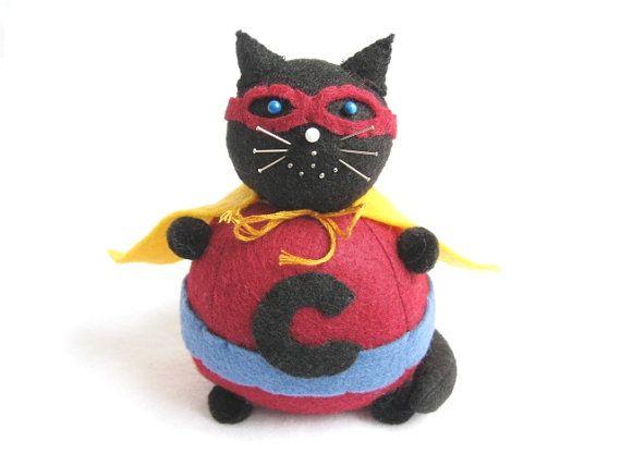 Superhero Pincushion Cat Maroon Caped Crusader by FatCatCrafts, $17.00