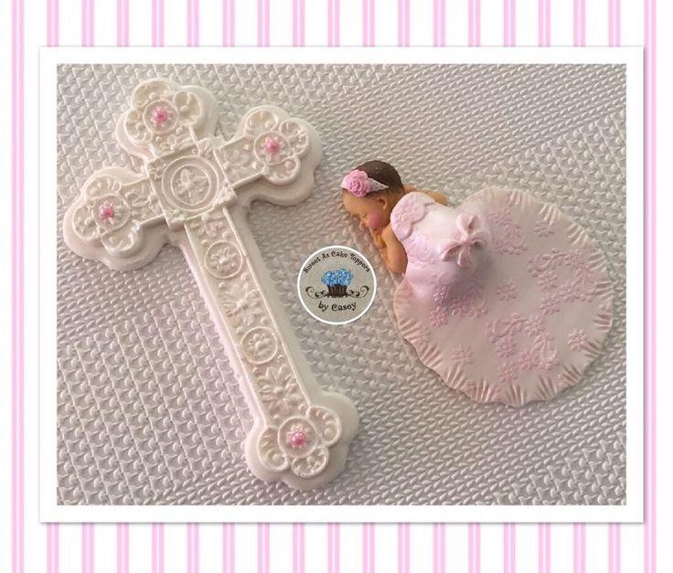 White Cross & Baby Girl In Detailed Gown Christening Cake Topper. Baptism  | eBay