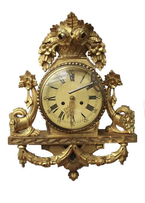 Swedish Clock Big Antique Louis Xv Gild Wood Cartel Wall