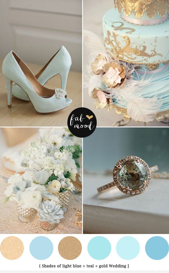 Light blue and gold wedding colors | http://www.fabmood.com/light-blue-and-gold-wedding-colors/