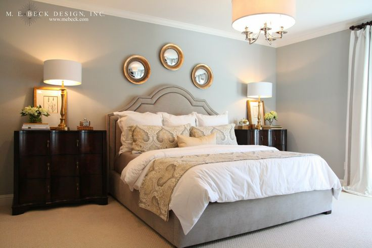 20 Cool Master Bedroom Designs Collection: Master Bedroom - Cool Grey Walls, Golden Accents