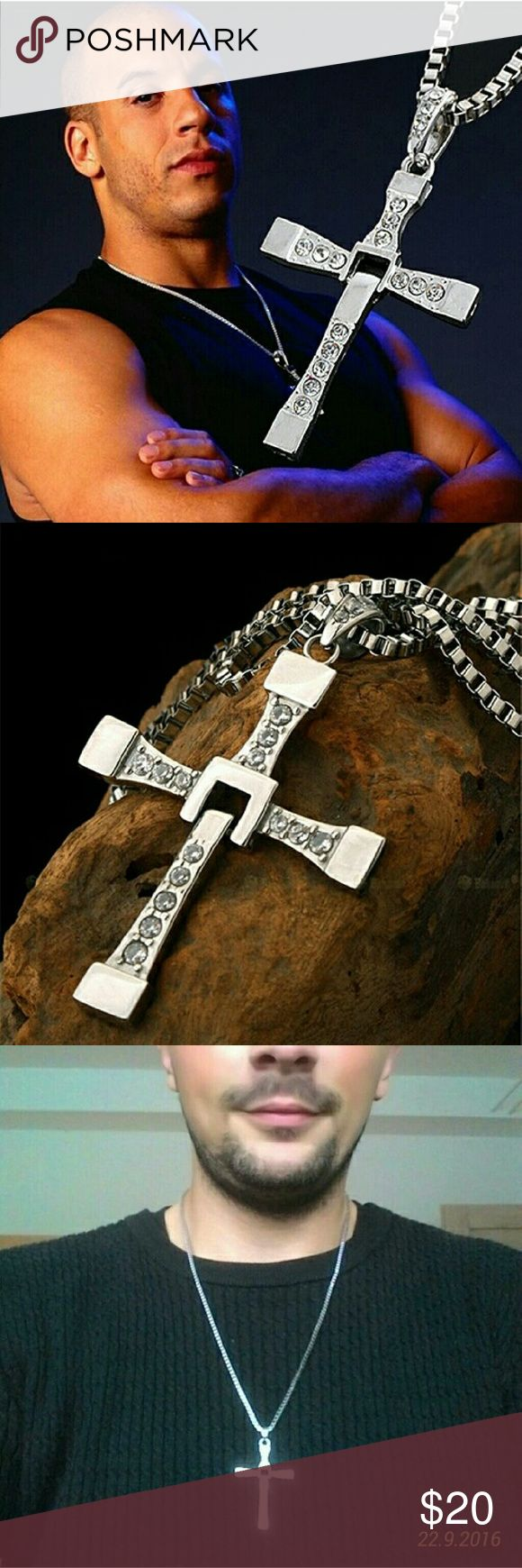Long Chain New Fast and Furious Seven Dom Long Chain New Fast and Furious Seven Dominic Toretto / Vin Diesel Silver Plated Cross Necklace for Men Jewelry Necklaces