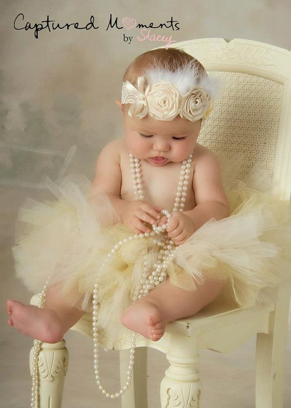 so doing this pic with Liv! Fondness Baby Headband,Baptism,Christening feather Headband-Vintage Look,Flowered headband for infants,Newborn/Baby-Photo Prop