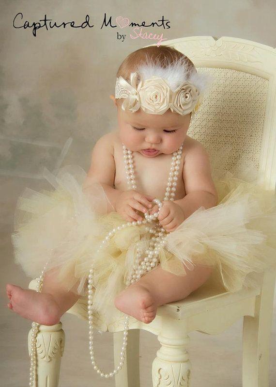 Fondness Baby Headband,Baptism,Christening feather Headband-Vintage Look,Flowered headband for infants,Newborn/Baby-Photo Prop