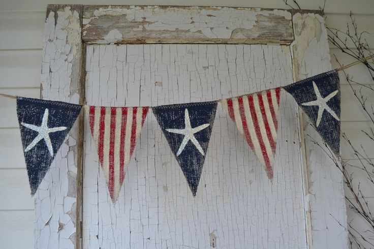 Size MED. Starfish Olde American Flag, Patriotic, July 4th, Old Glory, USA, Painted Burlap Banner, Flag, Bunting, Pennant by funkyshique on Etsy https://www.etsy.com/listing/152389606/size-med-starfish-olde-american-flag