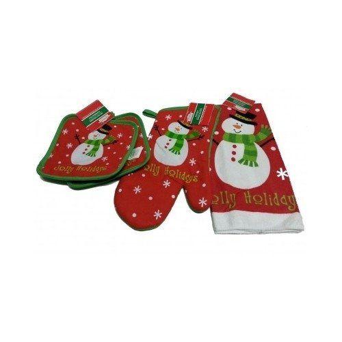 Christmas Kitchen Linen Set Jolly Holidays Snowman Dish Cloth Potholder & Oven Mitt Set Seasonal Kitchen Supplies Holiday Decorative Kitchen Linens Snowman Decoration, 2015 Amazon Top Rated Kitchen Linen Sets #Home