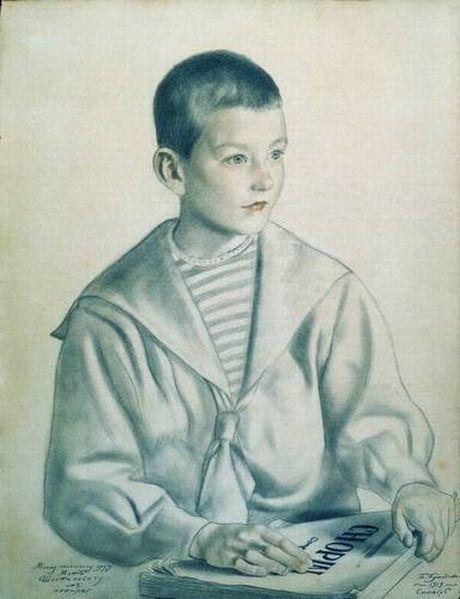 """Портрет Мити Шостаковича. 1919 Кустодиев Б.М. """"Портрет Мити Шостаковича."""""""
