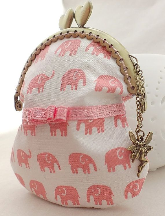 $17.00 Framed handmade coin purse with pink elephants by xiannashop