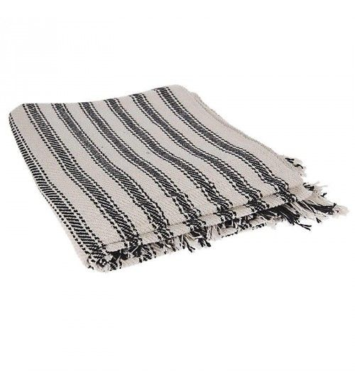 COTTON THROW W_BEIGE STRIPES  130X170