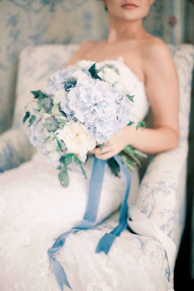 Powder blue hydrangea bouquet with a blue velvet ribbon | Anastasiya Belik Photography | http://burnettsboards.com/2013/12/powder-blue-white...