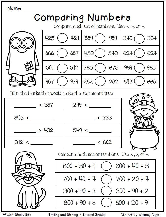 Halloween Math for Second Grade--Comparing Numbers-Free