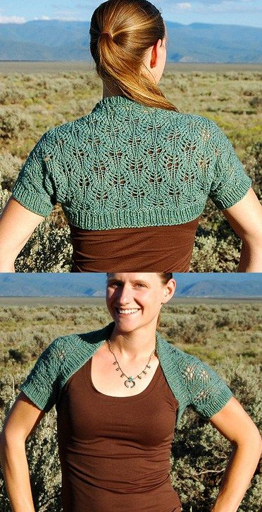 Free knitting pattern for Sagebrush Shrug knit with one skein - Hanna Breetz designed this lace shrug that uses just 250 – 280 yards (229 – 256 m) of worsted yarn.