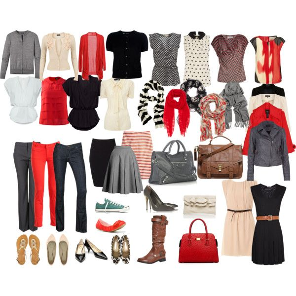 Mix and Match Wardrobe - red is not my color, but this is a great concept.