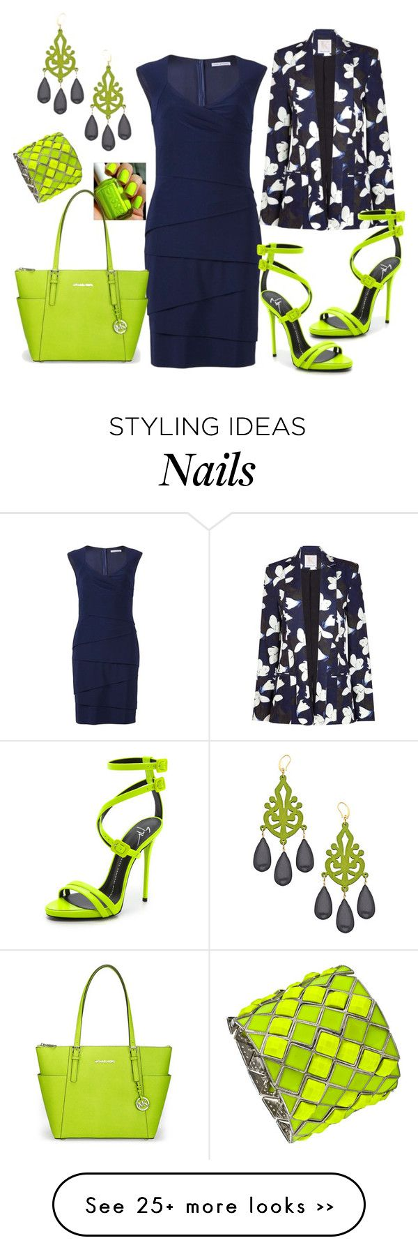 """""""Navy & Neon Pear""""- I'm not sure how I feel about the blazer, but everything is great."""